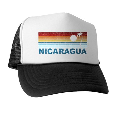 Retro Nicaragua Palm Tree Trucker Hat