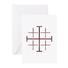 Red Jerusalem Cross Greeting Cards (Pk of 10)