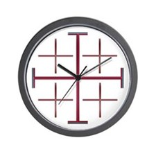 Red Jerusalem Cross Wall Clock