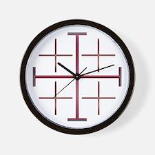 Red Jerusalem Cross Wall Clock