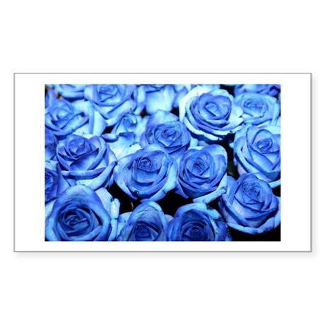 Blue Roses Rectangle Sticker
