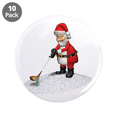 "Golfing Santa 3.5"" Button (10 pack)"