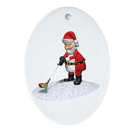 Golfing Santa Oval Ornament