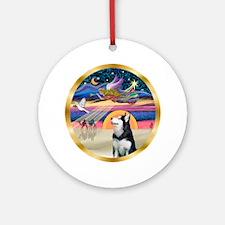 Xmas Star & Siberian Husky Ornament (Round)