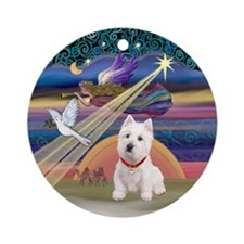 Xmas Star & Westie Ornament (Round)