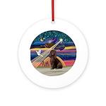 Xmas Star & I W Spaniel Ornament (Round)