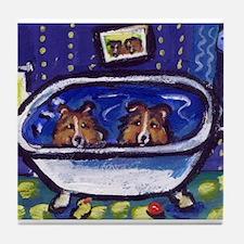 SHETLAND SHEEPDOG sheltie bat Tile Coaster