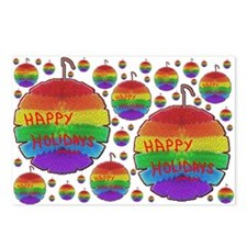 HAPPY HOLIDAY RAINBOW ORNAMENTS Postcards Package8