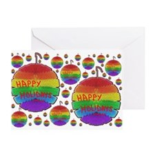 HAPPY HOLIDAYS RAINBOW ORNAMENTS Greeting Card