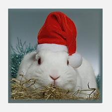 Christmas Santa Bunny Tile Coaster