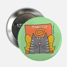 "Gray Tabby Cat Angel 2.25"" Button"