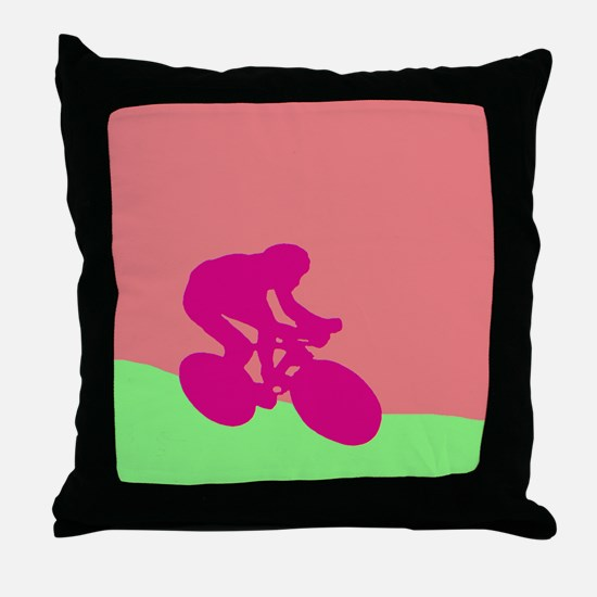 MAGENTA CYCLIST Throw Pillow