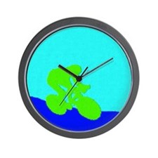 LIME GREEN CYCLIST PAINTING Wall Clock