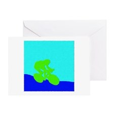 LIME GREEN CYCLIST PAINTING Greeting Card