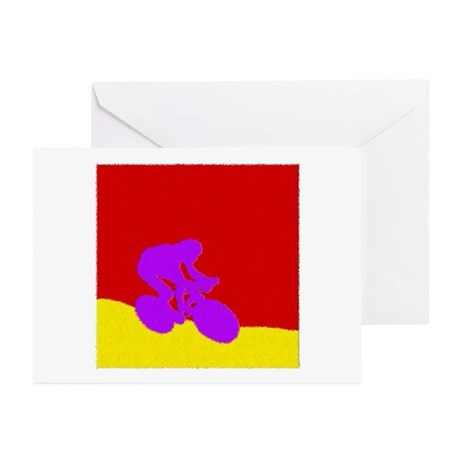 PURPLE CYCLIST PAINTING Greeting Cards (Pk of 10)