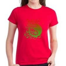 Buddha Design in Red and Gree Tee