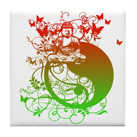 Buddha Design in Red and Gree Tile Coaster