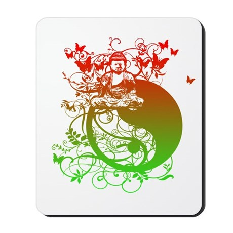 Buddha Design in Red and Gree Mousepad