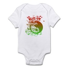 Buddha Design in Red and Gree Infant Bodysuit