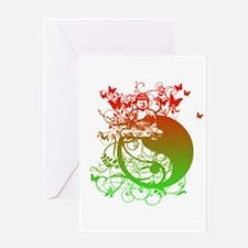 Buddha Design in Red and Gree Greeting Card