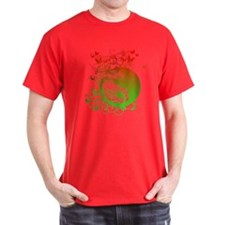 Buddha Design in Red and Gree T-Shirt