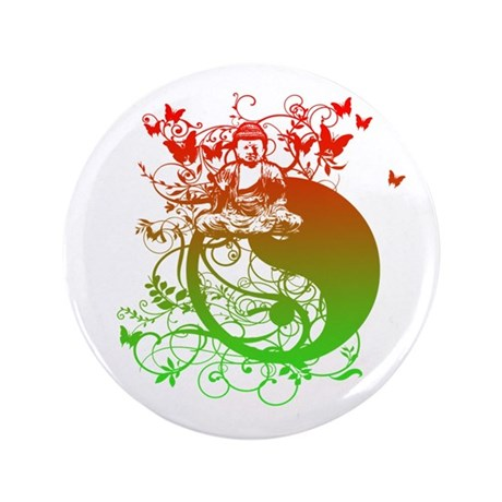 """Buddha Design in Red and Gree 3.5"""" Button (100 pac"""