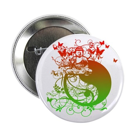 """Buddha Design in Red and Gree 2.25"""" Button (10 pac"""