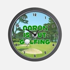 Aaron is Out Golfing (Green) Golf Wall Clock