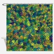Cannabis Leaf Abstract Collage Shower Curtain