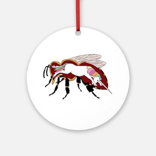 Unicorn Bee Round Ornament