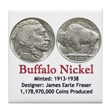 Buffalo Nickel Tile Coaster