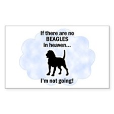Beagles In Heaven Rectangle Decal