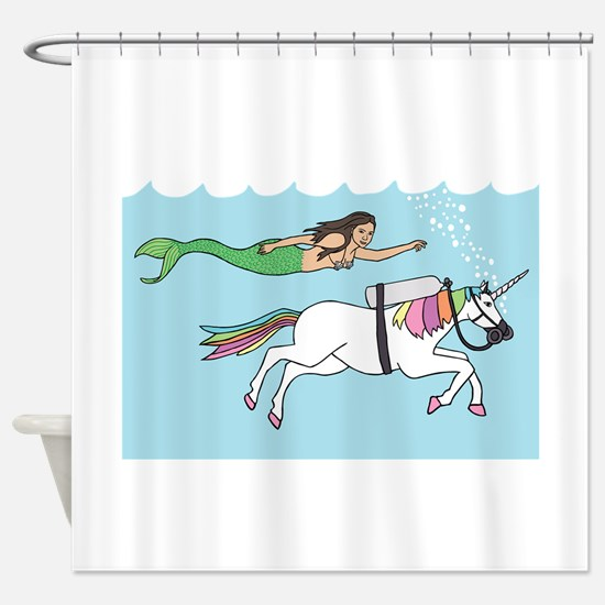 Mermaid Swimming With Unicorn Shower Curtain