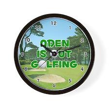 Aden is Out Golfing (Green) Golf Wall Clock