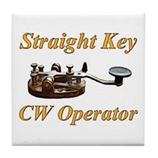 Straight Key CW Operator Tile Coaster