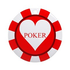 Red Heart Poker Chip Ornament (Round)