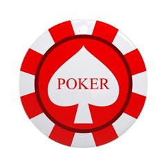 Red Spade Poker Chip Ornament (Round)