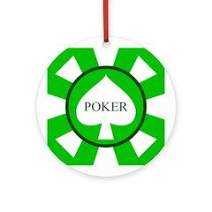 Green Spade Poker Chip Ornament (Round)