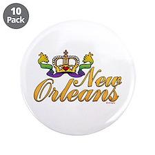 "New Orleans Mardi Gras Crown 3.5"" Button (10 pack)"