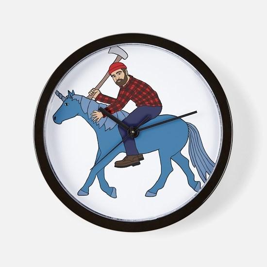 Paul Bunyan Riding Unicorn Wall Clock