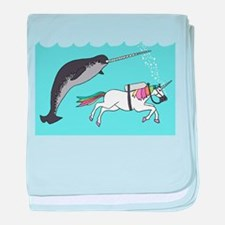 Narwhal Swimming With Unicorn baby blanket