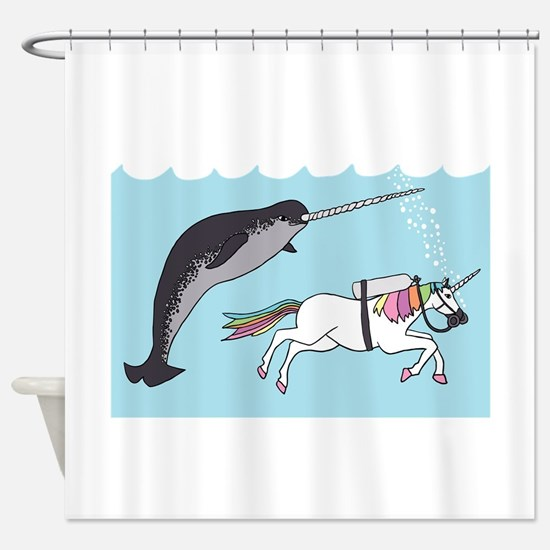 Narwhal Swimming With Unicorn Shower Curtain