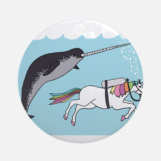 Narwhal Swimming With Unicorn Round Ornament