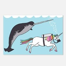 Narwhal Swimming With Uni Postcards (Package of 8)