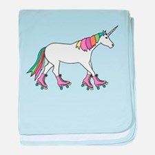 Unicorn Rollerskating baby blanket