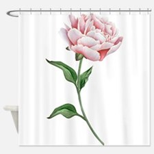Pink Peony with Leaves Shower Curtain