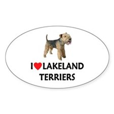 I Love Lakeland Terriers Oval Decal