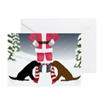 Labs Tug Santa Scarf Bc Christmas - Greeting Cards