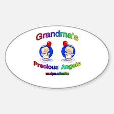 GRANDMA'S PRECIOUS GIRL ANGELS Oval Decal