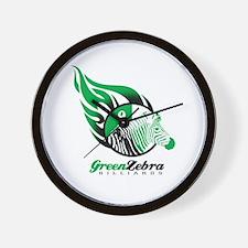 Green Zebra Billiards Wall Clock